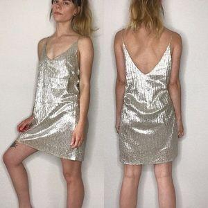 NWT Amuse Society metallic micro pleat dress